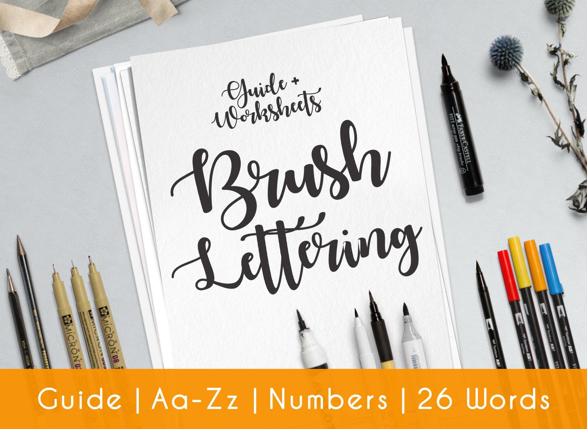 Brush hand lettering worksheets practice sheets