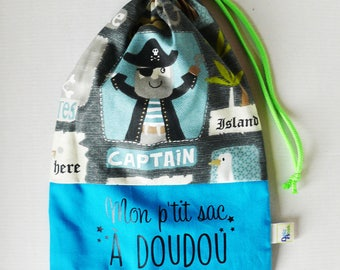 Pirate toy bag blue gray and black