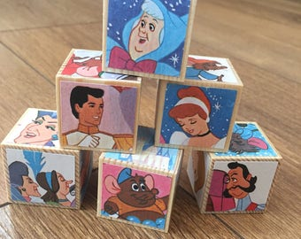Disney Cinderella Wooden Nursery Blocks Baby Shower Gift