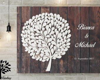 70x50 cm, 3D Guest book - wedding tree - canvas print Vintage