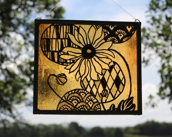 Painted stained glass. Japanese Style Flower and Round Lanterns. Can be personalised with any name or date. Engraved Artist Initials