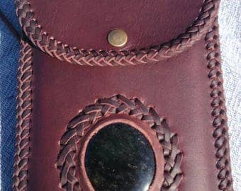 Leather case for mobile handmade with natural stone-obsidian