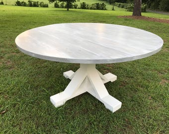 Farmhouse Table,Round Farmhouse Table,Tresle Farmhouse Table,Rustic Dining  Table,Round