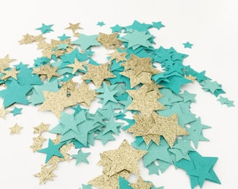 Mint Gold and Aqua Confetti, Star Party Confetti, Table Scatter, Paper Confetti, First Birthday, Baby Shower, Party Decor, Die Cut Stars