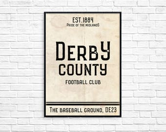 The Baseball Ground Derby County Football Club Print Picture Art Poster Retro Style Print Brian Clough