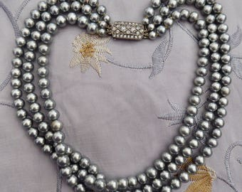 Vintage 1950s Children's Grey Faux Pearl Triple Strand Necklace w. Silver & Rhinestone Catch