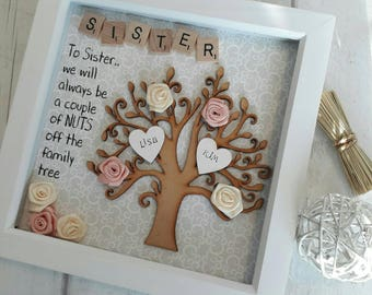 Gift For Sister, Gift For Family, Family Tree Frame, Personalised Scrabble Art, Sister Shadow Box, Birthday Present For Sister, Sister Frame