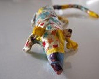 Papier Mache decopatch Rat sculpture