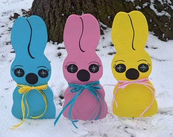 Easter hostess gift etsy 3 pastel chocolate bunny yard stakes outdoor easter yard decorations easter hostess gift negle