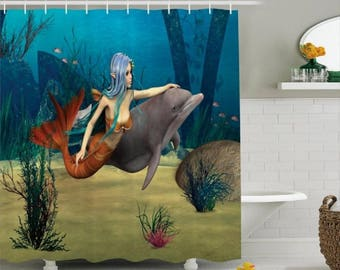 Mermaid and Dolphin Nautical Shower Curtain Custom Made