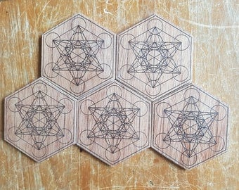 Metatron's Cube Coasters - Set of 5