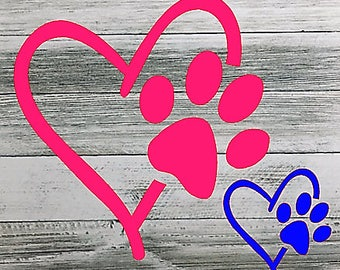 Heart And Dog Paw Decal, Dog Paw Decal, Yeti Cup Decal, Dog Mom Car Decal