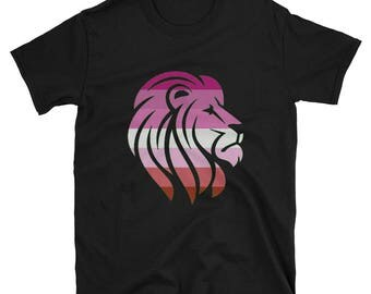 Lesbian Pride Lion Unisex T-Shirt  lgbt lgbtqipa lgbtq mogai pride flag bi pride