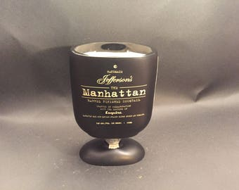 HANDCRAFTED Candle UP-CYCLED Jefferson's Manhattan Barrel Finished Cocktail Bourbon Whiskey Soy Candle WIth/Without Pedestal . Made To Order