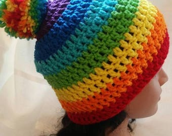 Handmade crochet rainbow, tye dyed look slouchy beanie hat with pompom
