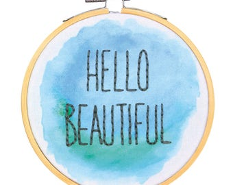 Dimensions - Embroidery Kit with Hoop Crewel Hello Beautiful