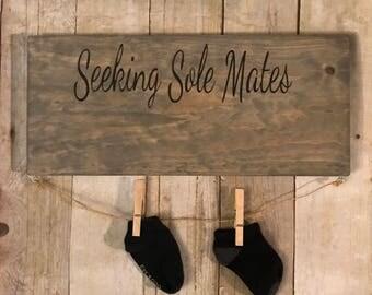 Seeking Sole Mates wooden single sock holder