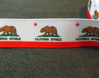California State Flag 7/8 inch Grosgrain Ribbon - 4 Yards