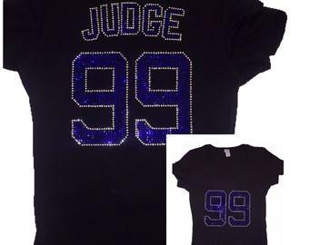 Aaron Judge Bling Sparkle Crystal Top Shirt MAJOR SPARKLE Yankees