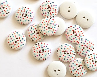 10 wooden buttons colourful small hearts pattern
