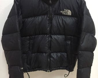 Vintage The North Face Hoodies Puffer Jacket Nuptse 700 Embroidery Logo Snow Wear Black Colour Elegent Style Protection Cold