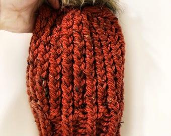 Burnt Orange Hand Knit Beanie w/Faux Fur Pompom