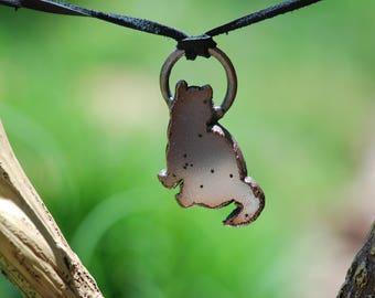 Druzy Cat Pendant, Druzy Cat Necklace, Electroformed, Copper, Crystal Healing Necklace
