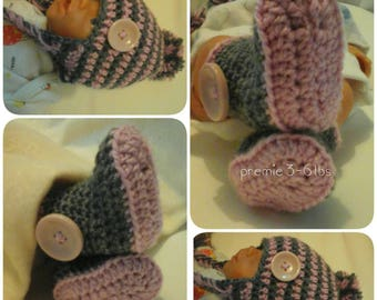 Pink and grey winter bobble hat and booties