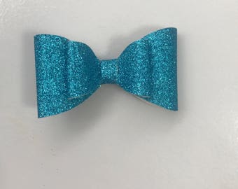 Teal glittee french bow , alligator clip