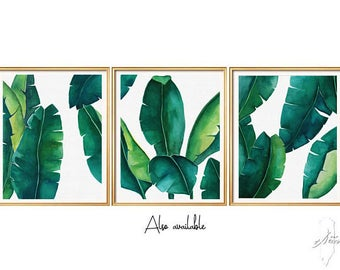 Set Leaf Prints, Art Prints, Prints, Palm leaf Print, Leafs SET-6 Files, Leaf print, Leaf printable, Set of 3 wall art, Print set ,Set of 3
