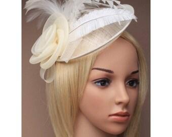cream fascinator, feather hatinator, wedding fascinator, bridal hairpiece, wedding headpiece, derby day hats, bridal fascinator