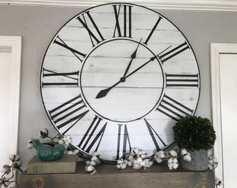 Big Wall Clock Whitewashed Roman Numeral Wall Clock Large Wall Clock Roman Numeral Big Clock Oversized Wall Clock Wooden Clock Big Clock