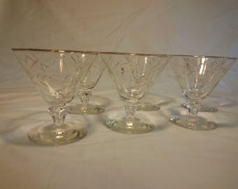 Hand painted sherbet glasses with gold design