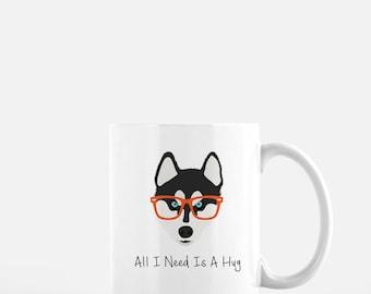 Personalized Husky Mug, Husky Coffee Mug, Siberian Husky Coffee Mug,  Siberian Husky Mug, Siberian Husky with Glasses, Husky Coffee Cup