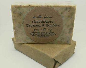 Lavender, Oatmeal and Honey Goats Milk Soap