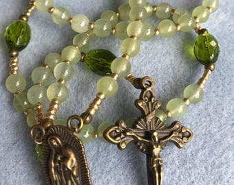 Natural Gemstone Light Green Jade Our Lady of Guadalupe (Tepeyac) Rosary, Faceted Peridot, Antique Bronze Crucifix and OLoG Centerpiece