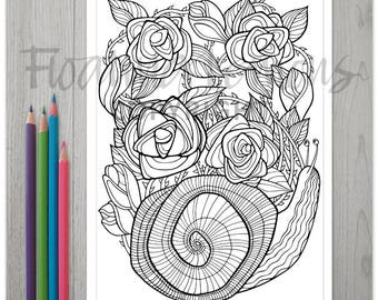 Printable Roses Snail Colouring Page