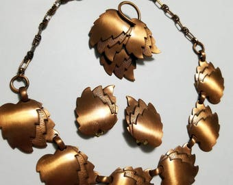 Vintage Genuine Copper Choker, Brooch, and Clipon Earrings