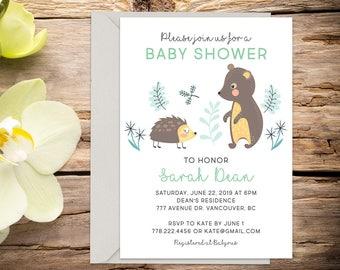 Baby shower invite, Woodland, baby boy/girl invitation, shower invitation, printable invitation, digital invitation, invitation template
