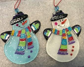 Snowman; Fused Glass Christmas Decoration; Home Decor: Hand painted Christmas Ornament; Christmas Tree Decoration, Christmas ball;