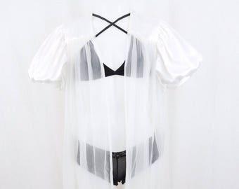 White Sheer Vintage Robe Poofy Sleeves Renaissance Style