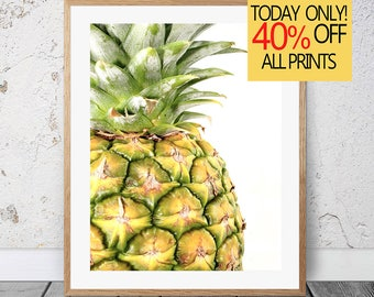 Tropical Fruit Print, Printable Pineapple, Pineapple Print, Pineapple Wall Art, Kitchen Decor, Kitchen Wall Art, Pineapple Poster