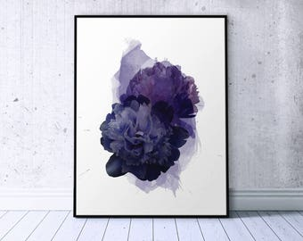 Flower Peony Print Indigo Blue Wall Art, Abstract Peony Art Printable, Brush Stroke Dark Blue Floral Poster Printable Women Gift