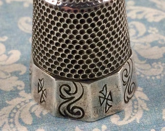 Antique Sterling Silver Size 11 Thimble