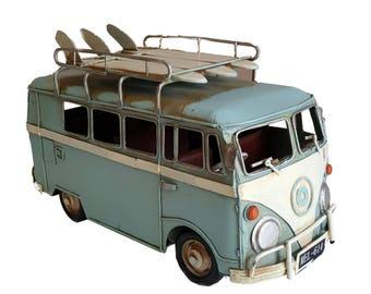 VW Style Camper Van Rustic Shabby Tin Metal Model Ornament 28cm