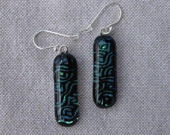 Fused glass, silver hook earrings