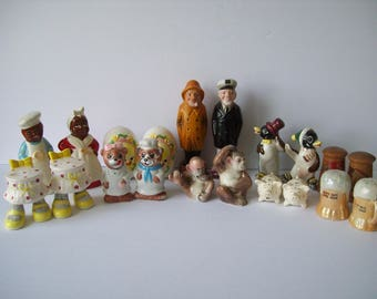Various  Salt and Pepper Shaker Lot Chef Cook Chimpanzees Sailors Eggs Pigs Penguins Bears Beer Stein Cottage Collectibles
