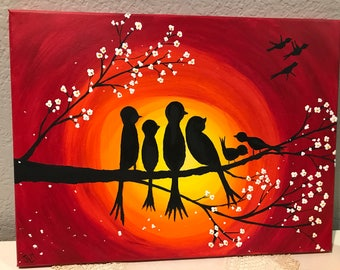 Bird Family, Customizable (Acrylic Canvas Painting)