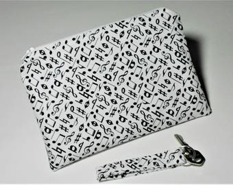 Music Notes Zipper Pouch & Complimentary Key Fob Makeup Bag Cell Phone Eyeglass Sunglass Case Accessory Purse 8 1/4 X 5 3/4 Ships Tomorrow