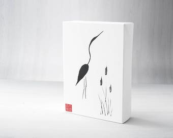 Sumi-e, Japanese Sumi-e, Ink Painting, Crane, Heron, Gallery Wrapped, 5x7, Painting, Simplicity, Zen